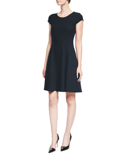 Cap-Sleeve Fit-&-Flare Dress, Navy