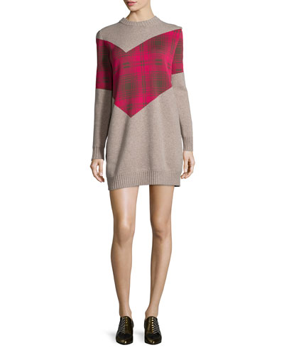 Thakoon Addition Plaid Combo Sweater Dress, Oatmeal
