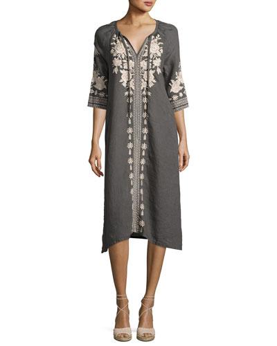 Petite Carmelita Embroidered Linen Peasant Dress, Voltage