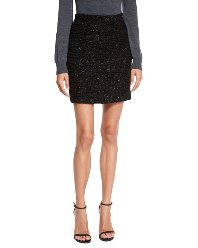 Couture Lurex® Tweed Skirt, Black