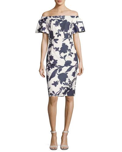 Dakota Off-the-Shoulder Floral Jacquard Sheath Dress