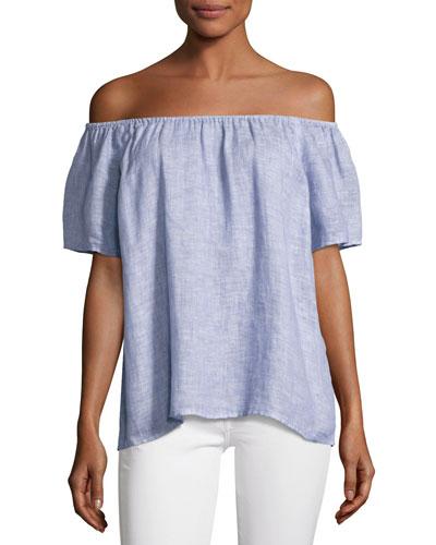 Amesti B Off-The-Shoulder Linen Top