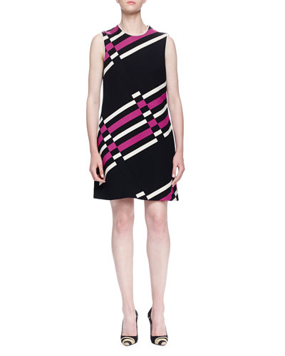 Uneven Striped Shift Dress