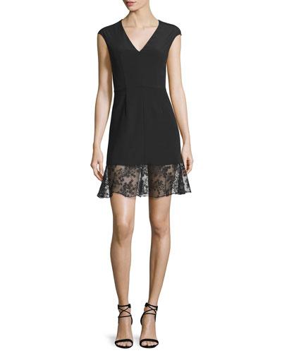 Sleeveless Crepe Lace-Trim Mini Dress, Black