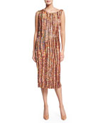Sleeveless Sequined Cocktail Sheath Dress, Peanut