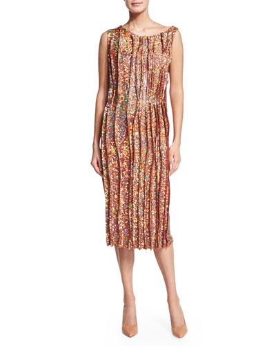 Sleeveless Sequined Cocktail Sheath Dress, Peanut