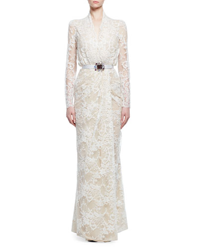 Lace Gown W/Embellished Belt, Ivory/Flesh
