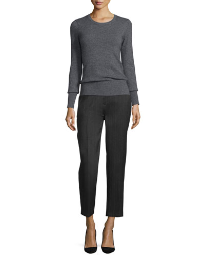 Tailored Slim-Leg Ankle Trousers, Charcoal
