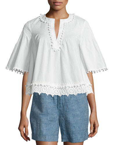 Boxy Pintucked Poplin Top, Soft White