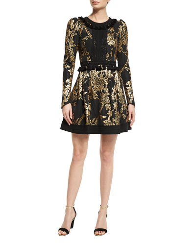 Long-Sleeve Metallic-Embroidered Dress, Black/Gold