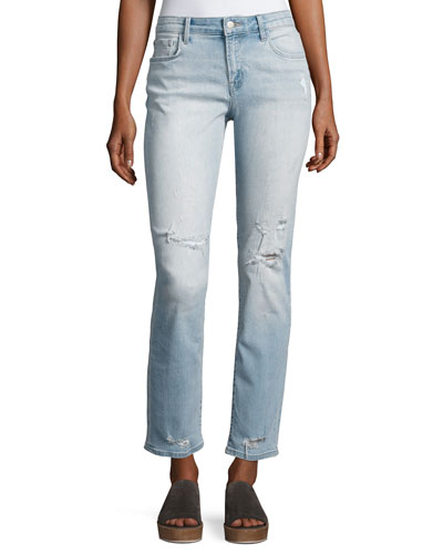 Amelia Decoy Mid-Rise Straight-Leg Jeans, Medium Blue