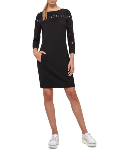 Lace-Inset Long-Sleeve Wool Dress