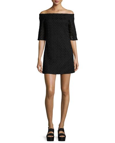 Lace Off-the-Shoulder Mini Dress, Black