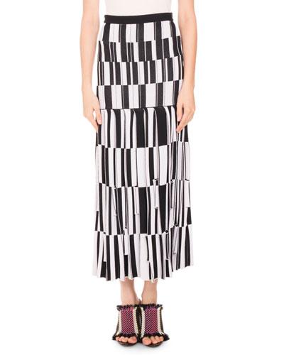 Knit Skirt-Pleated Jacquard