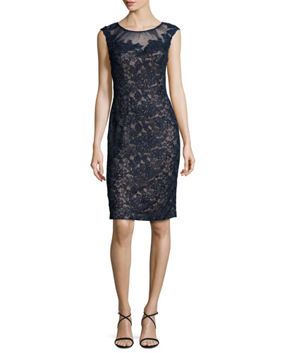 Cap-Sleeve Beaded Lace Sheath Dress