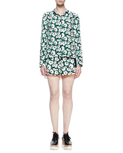 Damien Floral Silk Button-Down Shirt