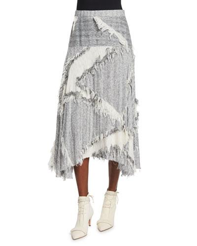 Hopsack Fringe-Trim Midi Skirt, Gray Melange