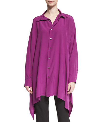 Long Button-Front Silk Top, Damson