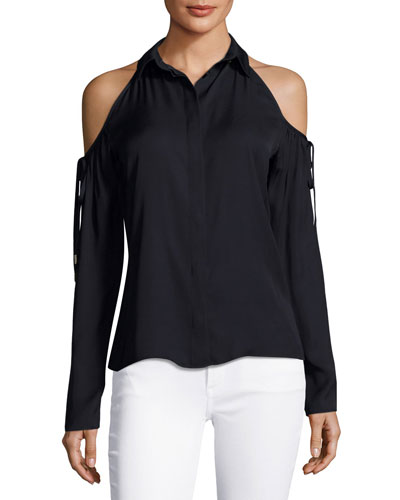 Button-Front Cold-Shoulder Blouse