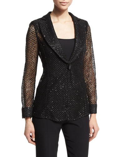 Embellished One-Button Macrame Jacket, Black