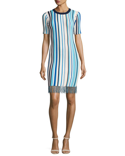 Vertical Striped Short-Sleeve Dress with Fringe