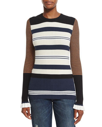 Mixed-Stripe Crewneck Sweater, Harvest White/Multicolor