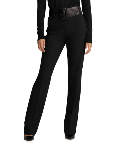 Alandra Side-Zip Stretch-Wool Pants, Black