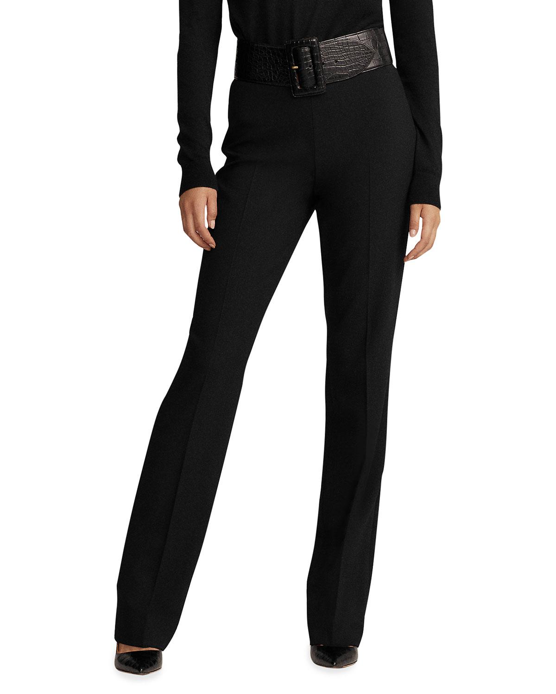 Alandra Side-Zip Stretch-Wool Pants, Black