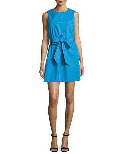 Ana Sleeveless Stretch-Poplin Dress, Blue