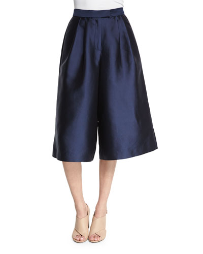Pleated Silk Culottes, Navy