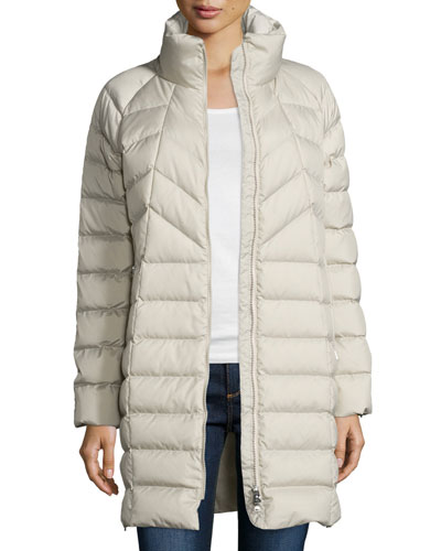Long Chevron-Stitched Puffer Coat, Stone