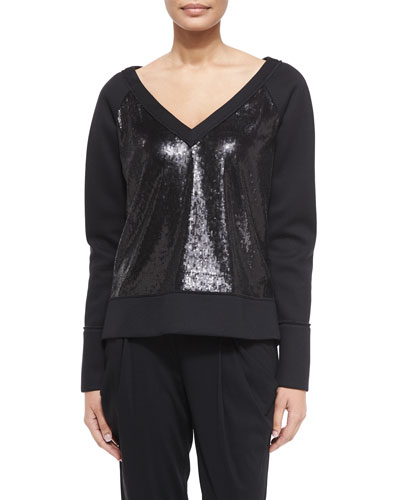 Long-Sleeve Sequin Sweatshirt, Black