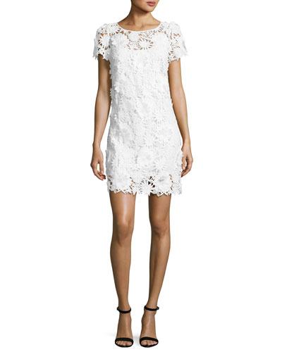 Chloe Short-Sleeve 3D Floral-Embroidered Lace Dress