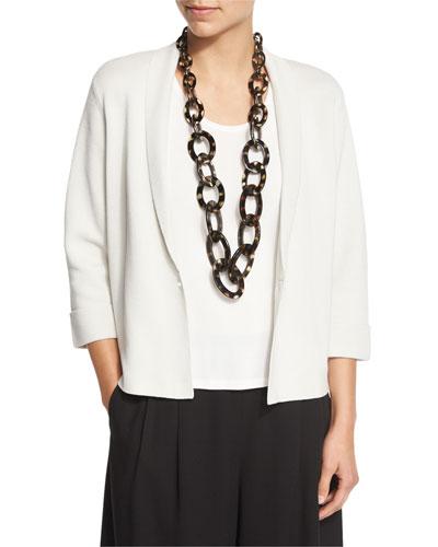 Silk Organic Cotton Interlock Boxy Jacket, Bone, Petite
