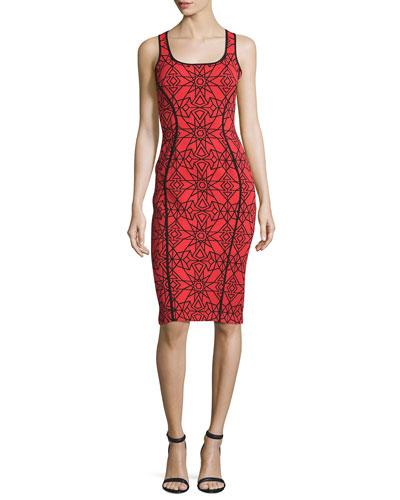 Sleeveless Two-Tone Printed Sheath Dress, Red/Black