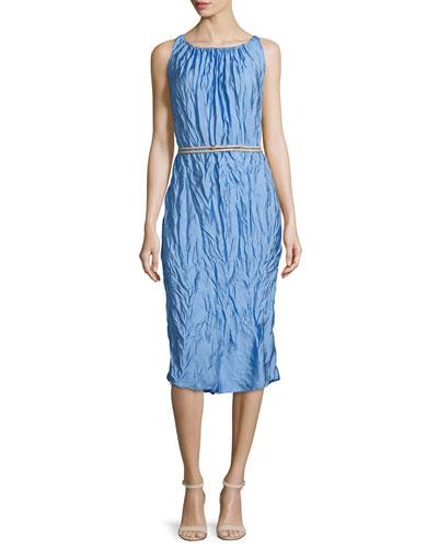 Sleeveless Crinkled Sheath Dress, Sky Blue