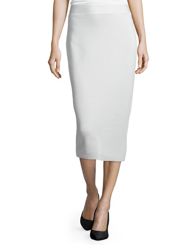 Silk Organic Cotton Interlock Pencil Skirt, Bone