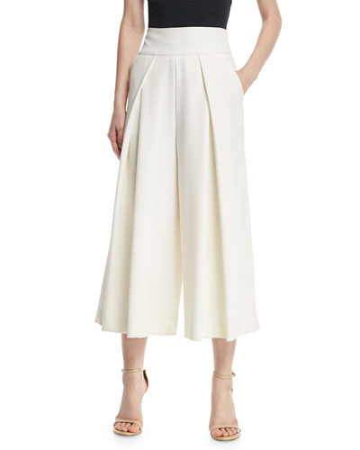 Italian Cady Pleated Wide-Leg Culottes, White