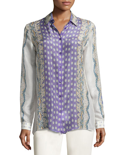Lace-Print Long-Sleeve Blouse, Purple