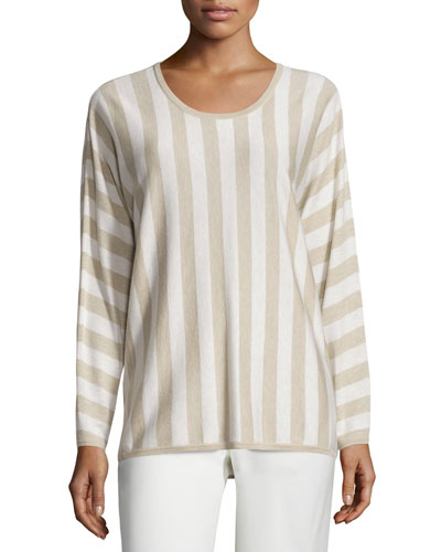 Ettore Striped Knit Top, White