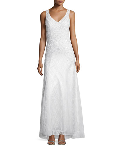 Sleeveless Embellished Mermaid Gown, White