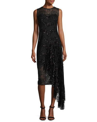 Katia Sleeveless Asymmetric Sequined Tulle Sheath Dress, Black