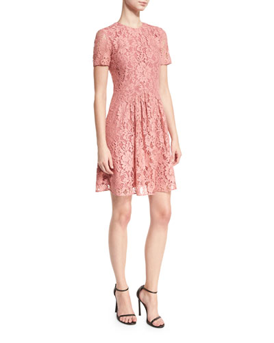 Short-Sleeve Lace Fit-and-Flare Dress, Antique Rose