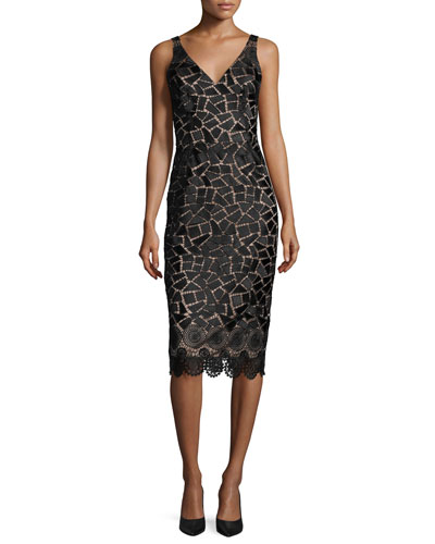 Sleeveless Embroidered Cocktail Dress, Black/Taupe