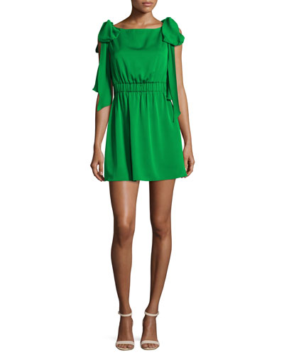 Allie Sleeveless Stretch-Silk Dress w/ Shoulder Bows, Emerald