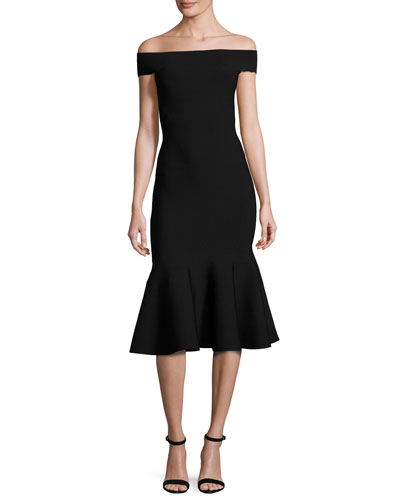 Off-the-Shoulder Mermaid Midi Dress, Black