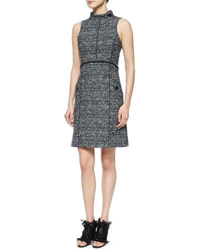 Sleeveless Stand-Collar Tweed Dress