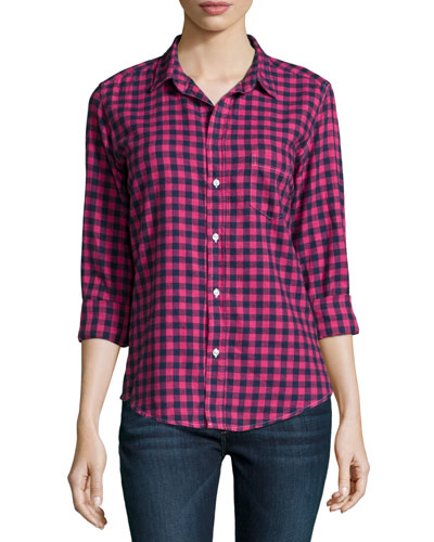 Barry Long-Sleeve Check-Print Shirt, Red Multi