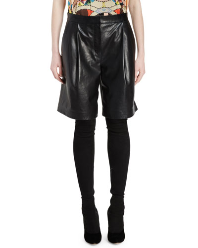 Pleated-Front Leather Shorts, Black