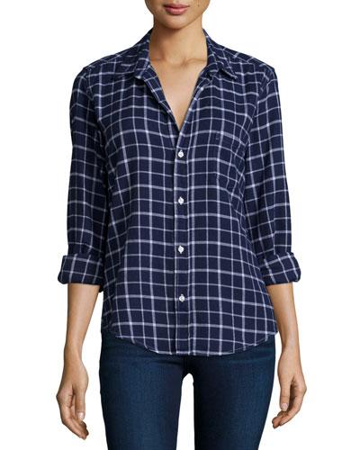 Barry Long-Sleeve Windowpane Shirt, Blue